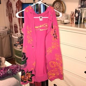 Zip up short cover up Ed hardy never worn